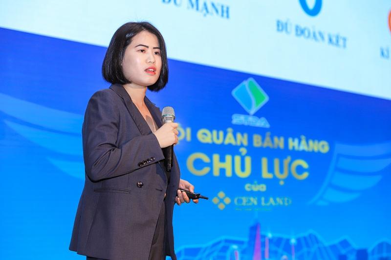 Chị Nguyễn Thị Dung – Phó TGĐ CenLand trình bày kế hoạch phát triển đội quân thiện chiến STDA